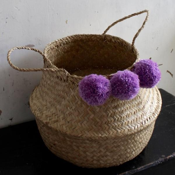 Handmade natural seagrass belly basket by Forest Fox
