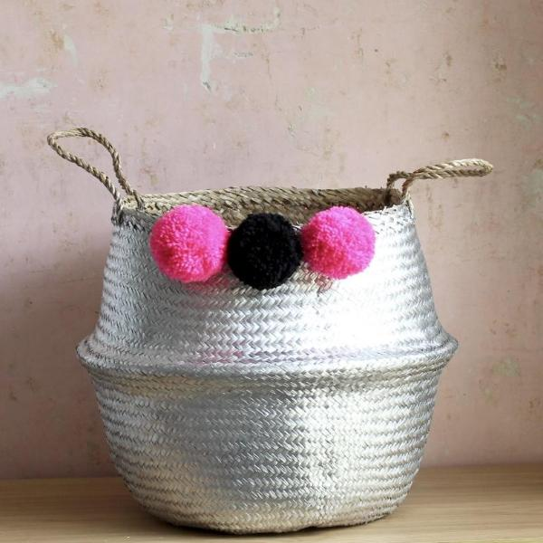 Seagrass pom pom belly basket by Forest Fox