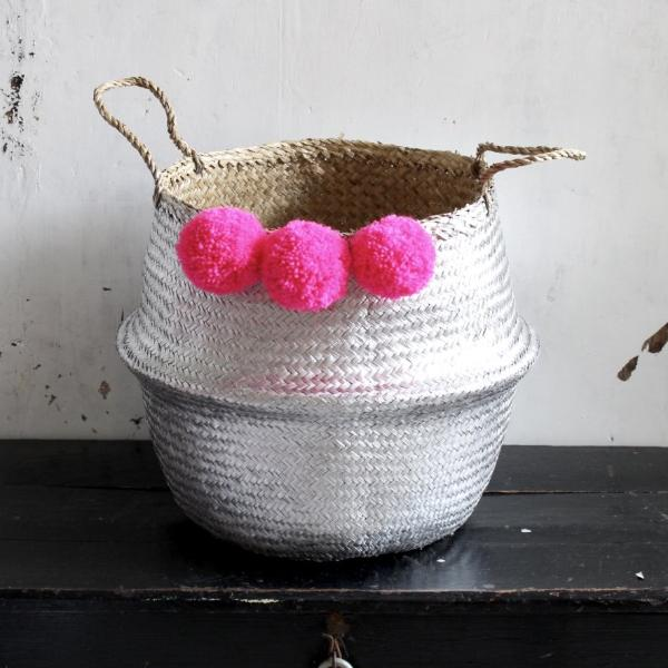 Pom pom seagrass basket by Forest Fox