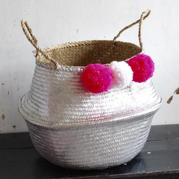 Forest Fox Pom pom silver seagrass woven storage belly basket