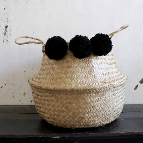 Pom pom seagrass woven belly basket natural handmade