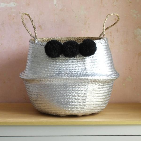 Silver seagrass pom pom belly basket