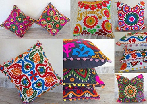 10 Piece Set 16 By Mandala Style Otman Pouf Cushion Cover Hand Embroidered Suzani Pillow Vintage