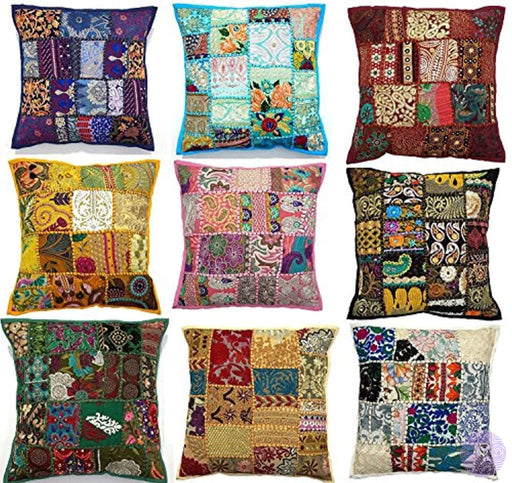 10Pc Embroidered Sari Patchwork Cushion Cover 17X17 Indian Ethnic Pillow Covers Handmade Patch Throw