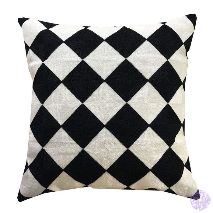 18 X Geometric Design Embroidery Throw Pillow Covers Black Cream Square(One Piece)