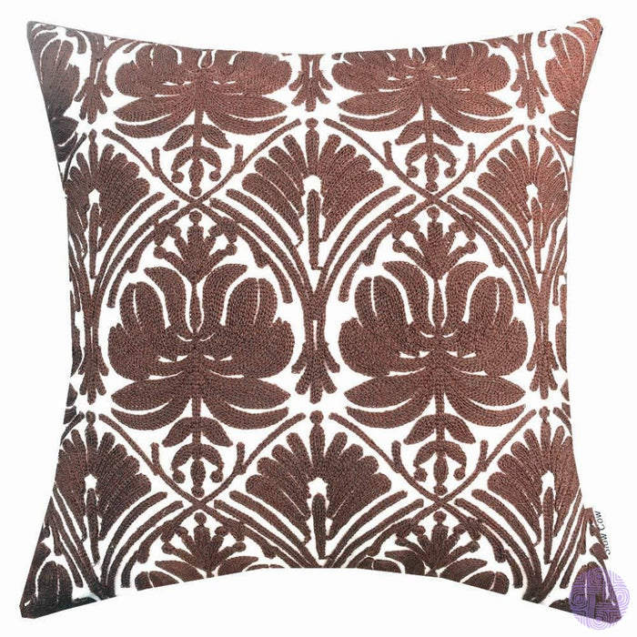 18 X Geometric Design Embroidery Throw Pillow Covers Brown Rose(One Piece)