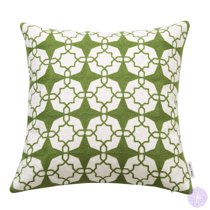 18 X Geometric Design Embroidery Throw Pillow Covers Green White(One Piece)