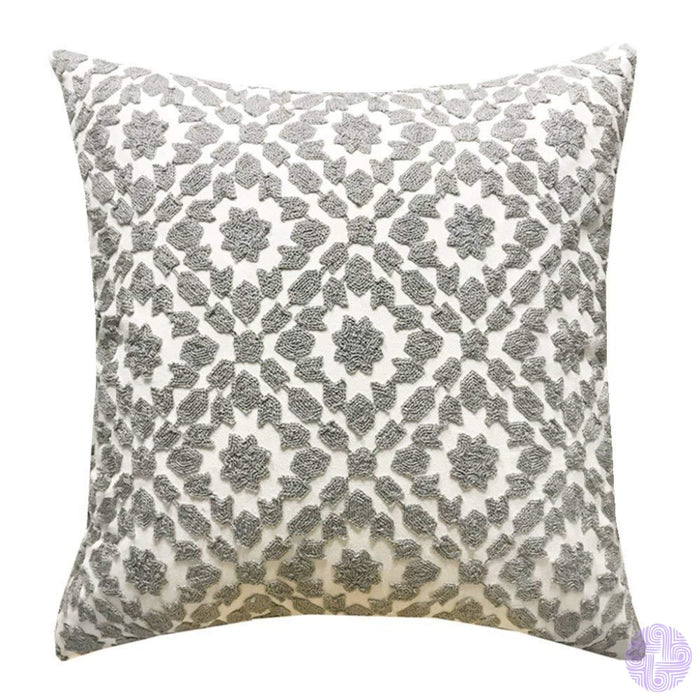 18 X Geometric Design Embroidery Throw Pillow Covers Grey Chain(One Piece)