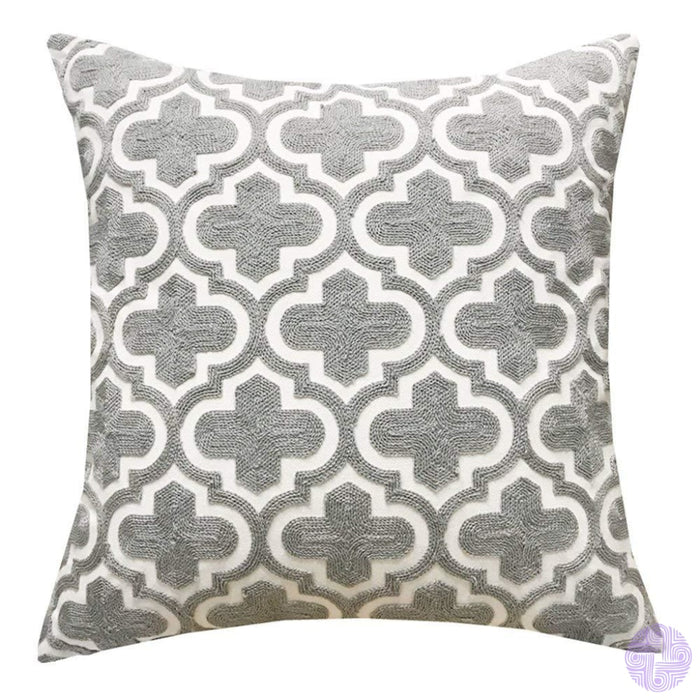 18 X Geometric Design Embroidery Throw Pillow Covers Grey Cross(One Piece)
