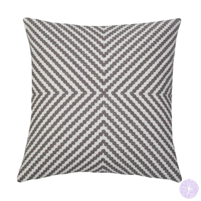 18 X Geometric Design Embroidery Throw Pillow Covers Grey Dots(One Piece)