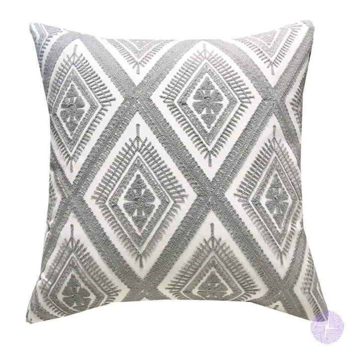 18 X Geometric Design Embroidery Throw Pillow Covers Grey Eyes(One Piece)