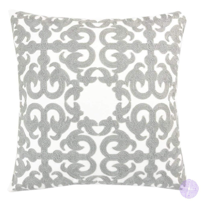 18 X Geometric Design Embroidery Throw Pillow Covers Grey Flame(One Piece)