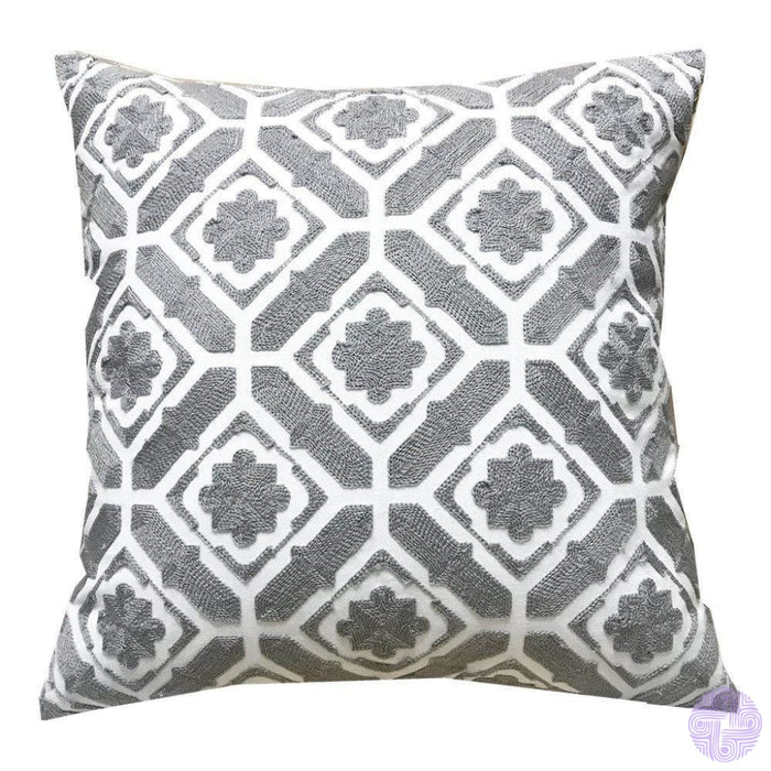 18 X Geometric Design Embroidery Throw Pillow Covers Grey Floral(One Piece)