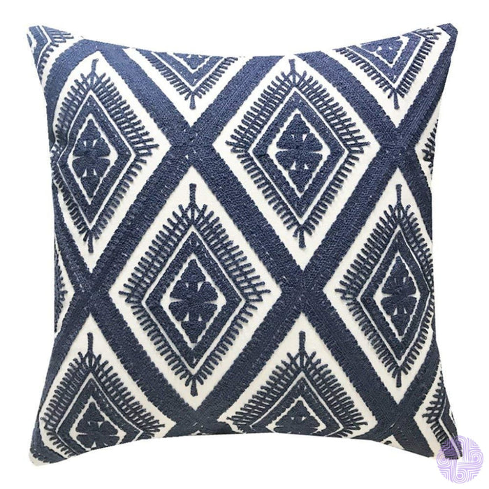 18 X Geometric Design Embroidery Throw Pillow Covers Navy Eyes(One Piece)