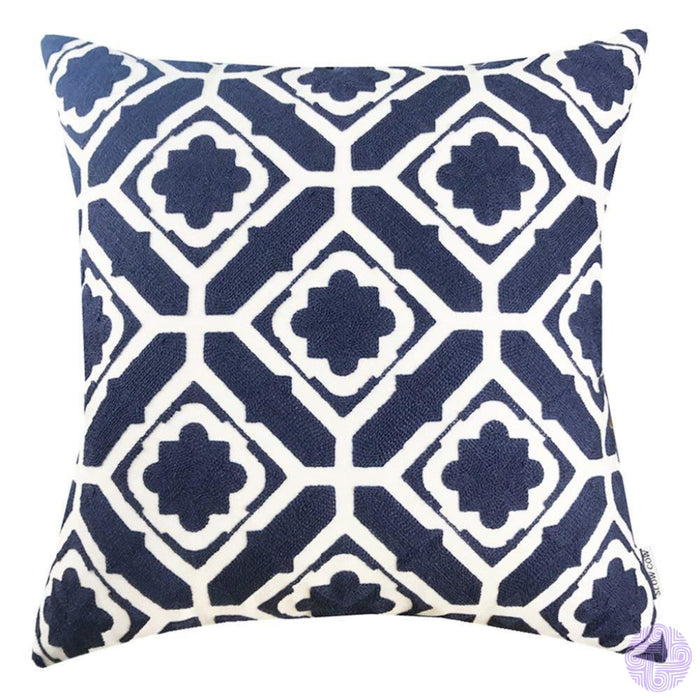 18 X Geometric Design Embroidery Throw Pillow Covers Navy Floral(One Piece)