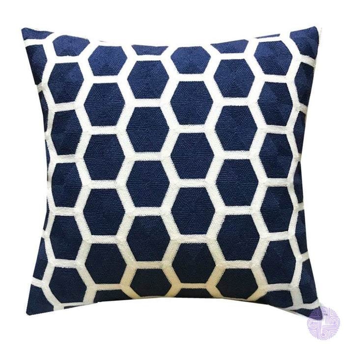 18 X Geometric Design Embroidery Throw Pillow Covers Navy Football(One Piece)