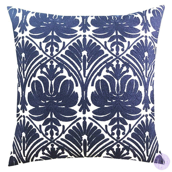 18 X Geometric Design Embroidery Throw Pillow Covers Navy Rose(One Piece)