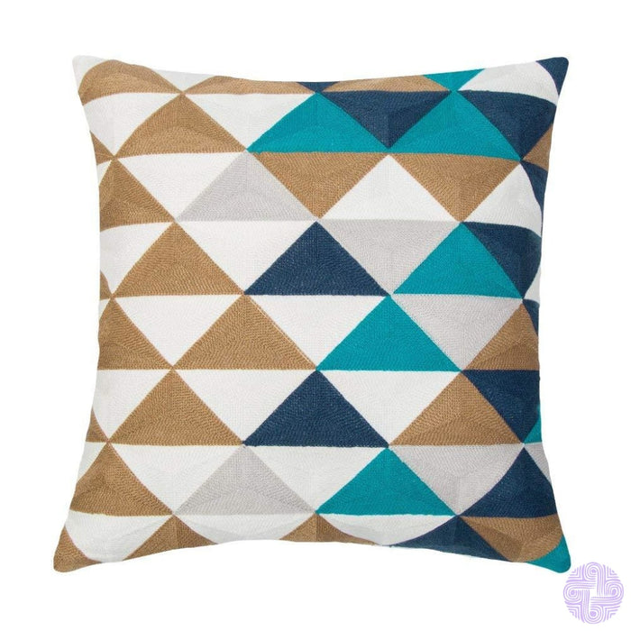 18 X Geometric Design Embroidery Throw Pillow Covers Navy Triangle(One Piece)