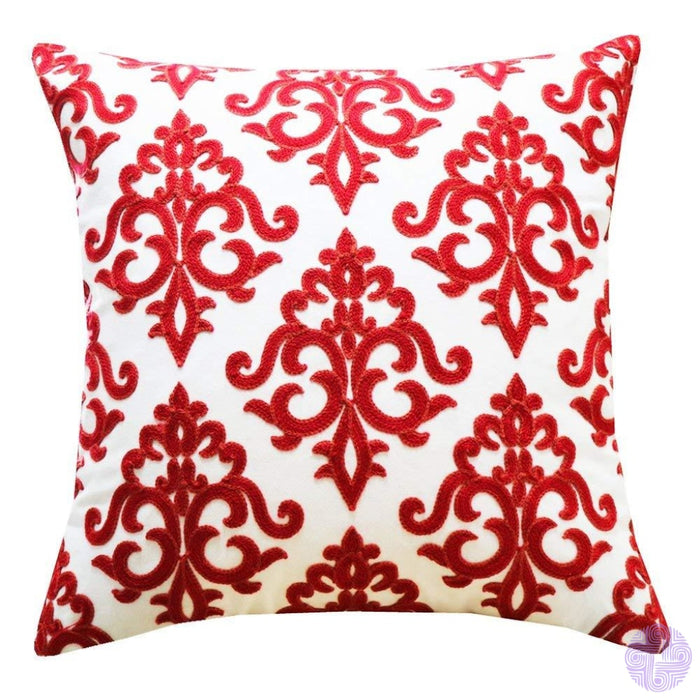 18 X Geometric Design Embroidery Throw Pillow Covers Red Farmhouse Floral(One Piece)