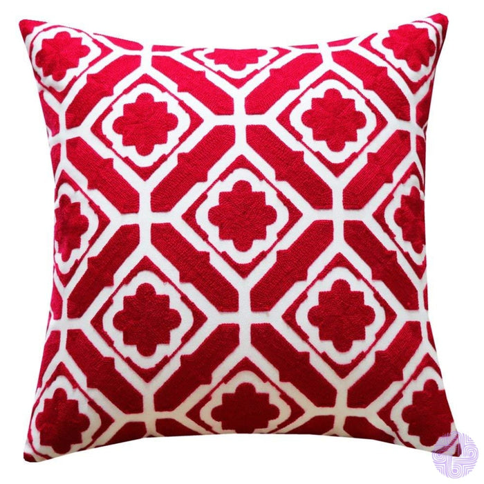 18 X Geometric Design Embroidery Throw Pillow Covers Red Floral(One Piece)