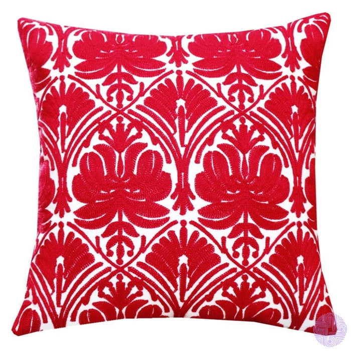 18 X Geometric Design Embroidery Throw Pillow Covers Red Rose(One Piece)
