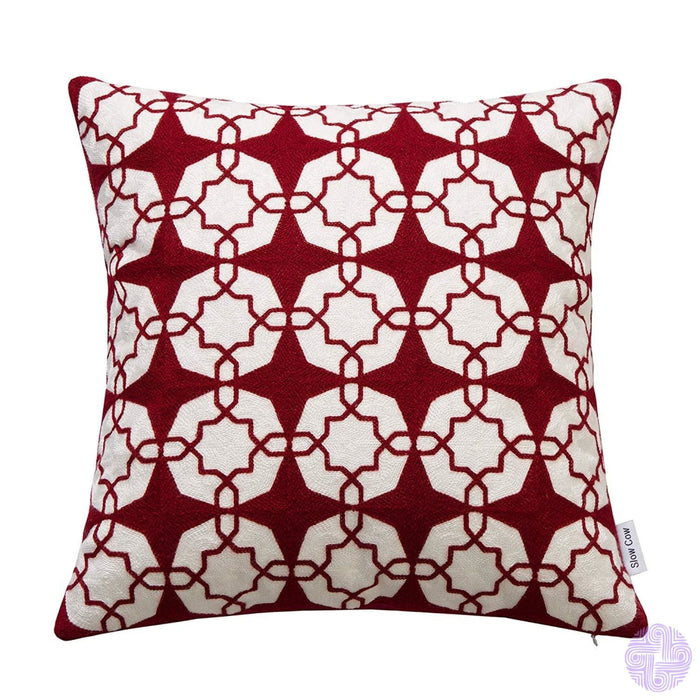 18 X Geometric Design Embroidery Throw Pillow Covers Red White(One Piece)