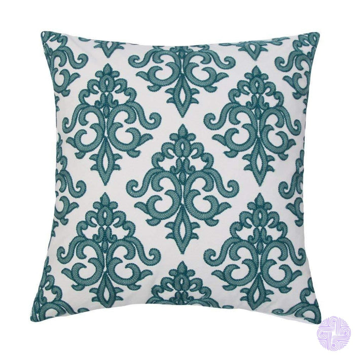 18 X Geometric Design Embroidery Throw Pillow Covers Teal Euro(One Piece)