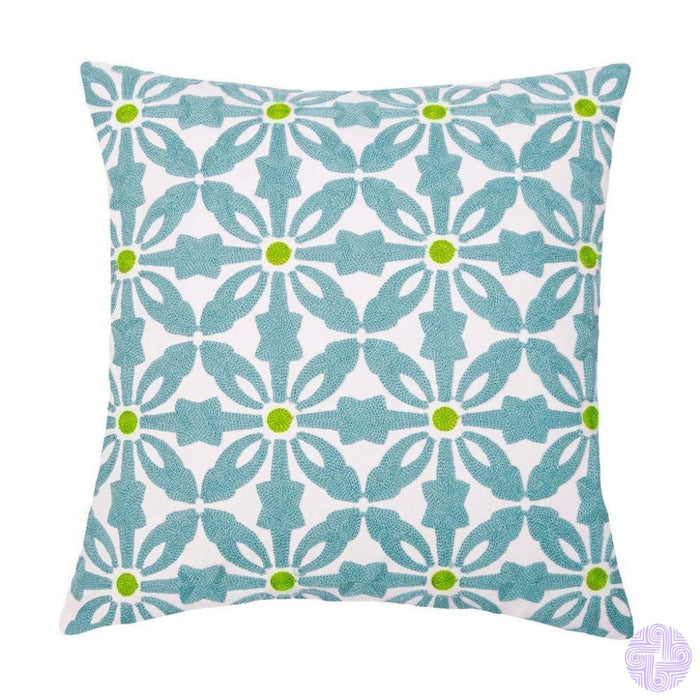 18 X Geometric Design Embroidery Throw Pillow Covers Teal Floral(One Piece)