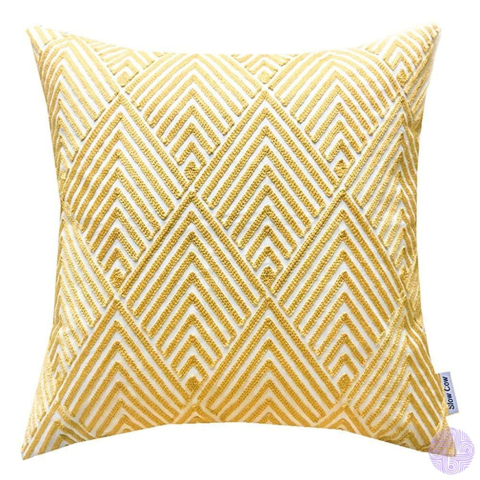 18 X Geometric Design Embroidery Throw Pillow Covers Yellow Eyes(One Piece)