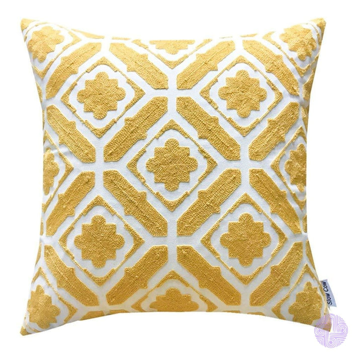 18 X Geometric Design Embroidery Throw Pillow Covers Yellow Floral(One Piece)