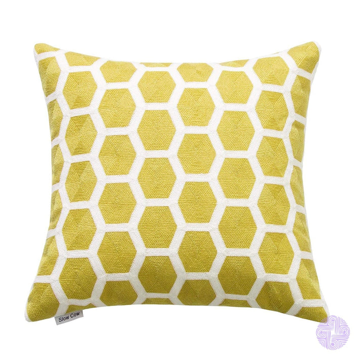 18 X Geometric Design Embroidery Throw Pillow Covers Yellow Geometric(One Piece)