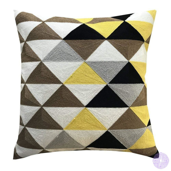 18 X Geometric Design Embroidery Throw Pillow Covers Yellow Triangle(One Piece)