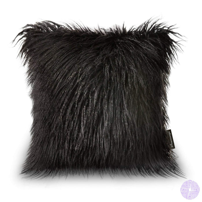 18 X Throw Pillow Covers In Faux Fur Velvet And Crochet Designs / Black