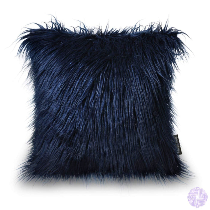 18 X Throw Pillow Covers In Faux Fur Velvet And Crochet Designs / Navy Blue