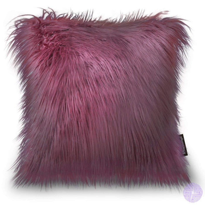 18 X Throw Pillow Covers In Faux Fur Velvet And Crochet Designs / Purple-Red Rose