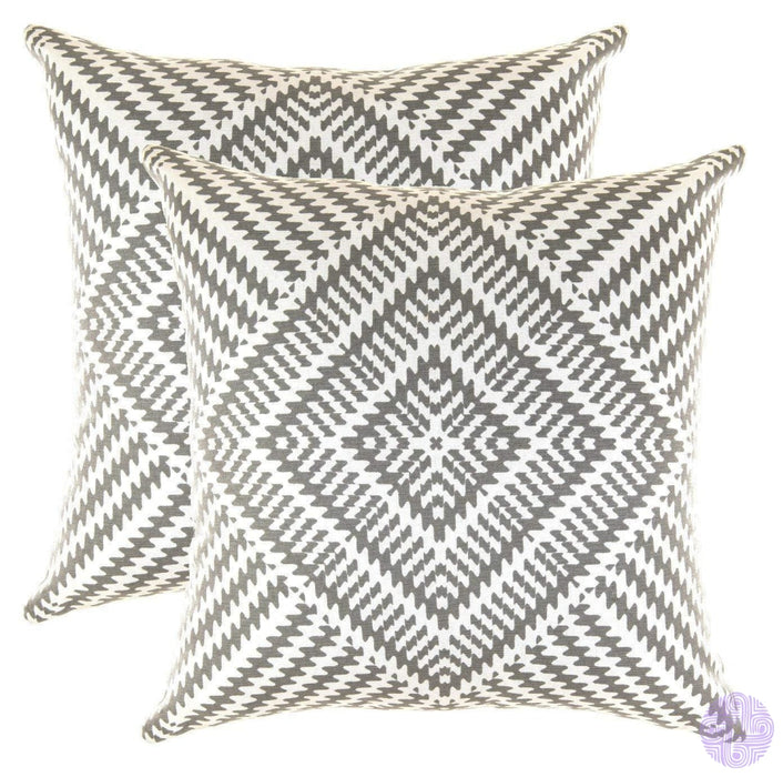 2 Piece Set Kaleidoscope Decorated Throw Pillow Covers 16 X Inches / Graphite