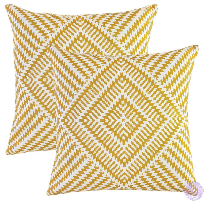 2 Piece Set Kaleidoscope Decorated Throw Pillow Covers 16 X Inches / Mustard
