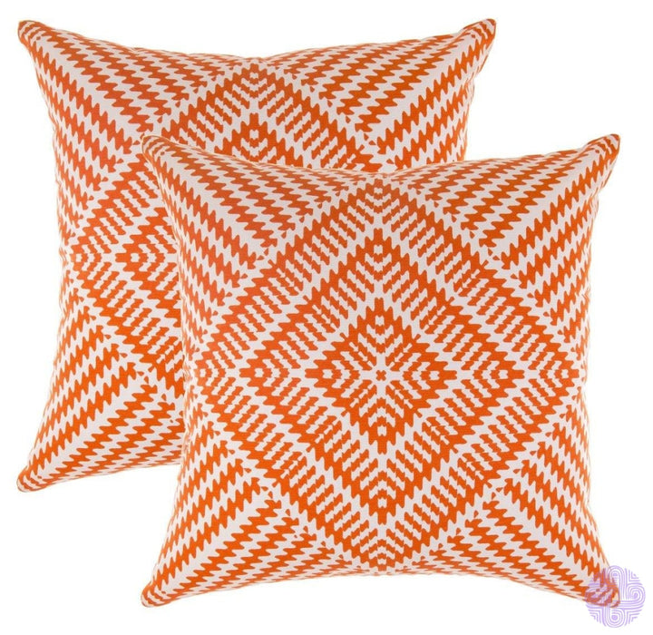 2 Piece Set Kaleidoscope Decorated Throw Pillow Covers 16 X Inches / Orange