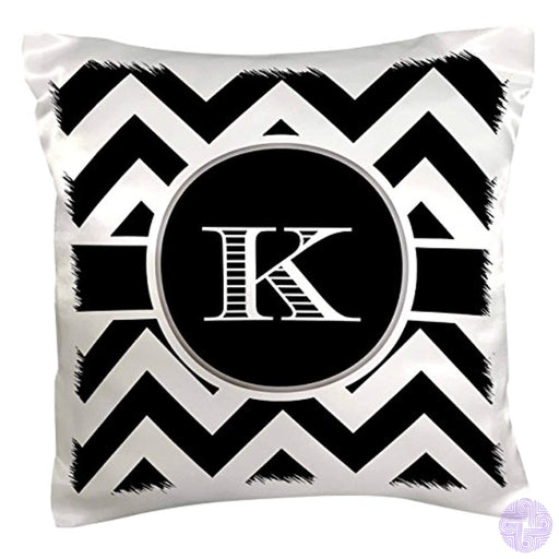 3Drose Pc_222073_1 Black And White Chevron Monogram Initial K Pillow Case 16 X