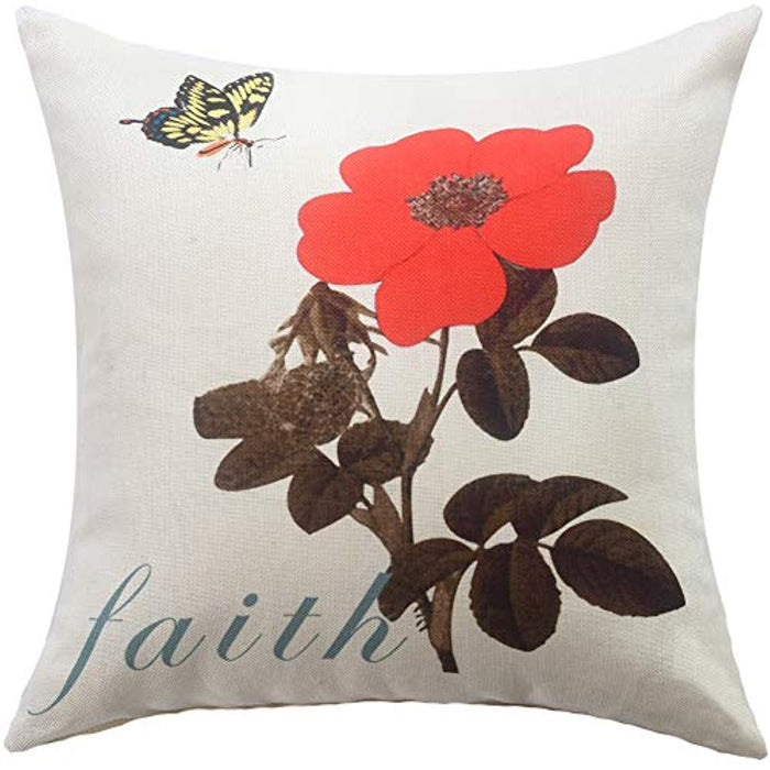 Cute Butterfly and Flower Throw Pillow Covers 18x18 Pack of 4