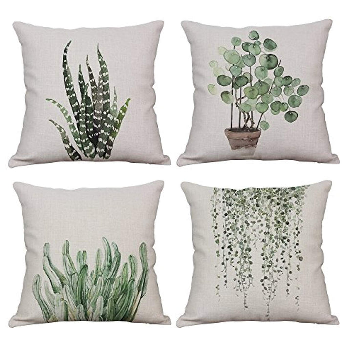 Set of 4 Green Plant Throw Pillow Covers 18x18