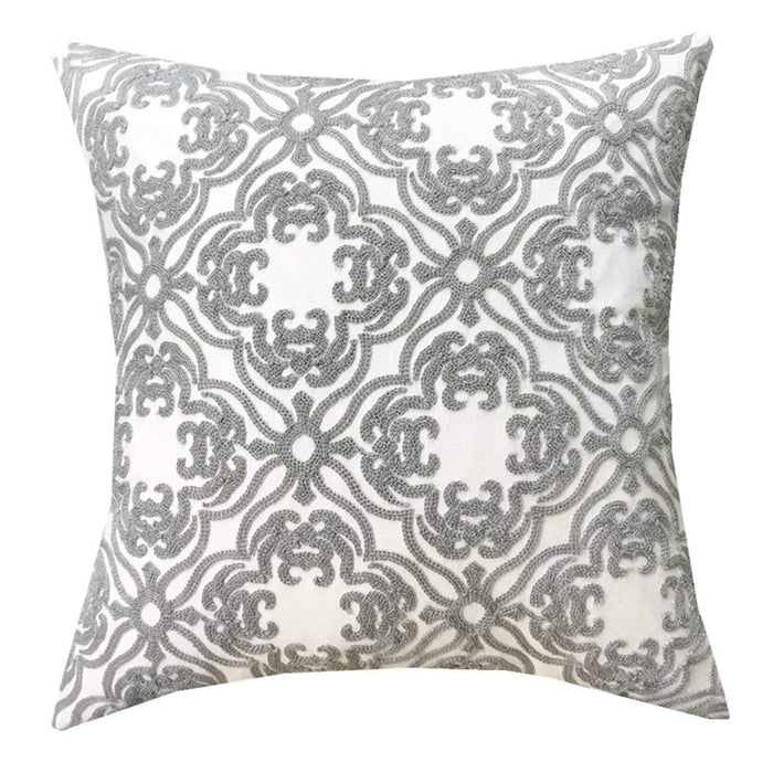 Plain Jane Cotton Embroidery Throw Pillow Cover, Soft Zipper Pillow Cover Decorative for Sofa, 18x18 inches Cushion Cover.