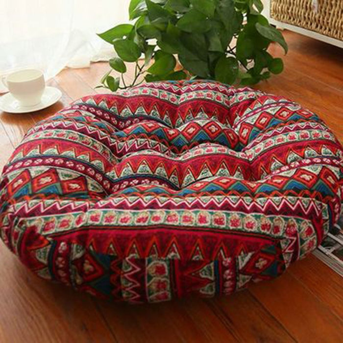 Patterned Japanese Style Button Tufted Floor Cushions