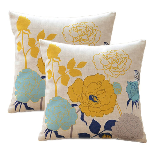 Spring Floral Sofa Pillow Covers 18 x 18 Pack of 2