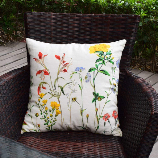 Decorative Spring Floral, Bunny Linen Throw Pillow Covers 18 x 18