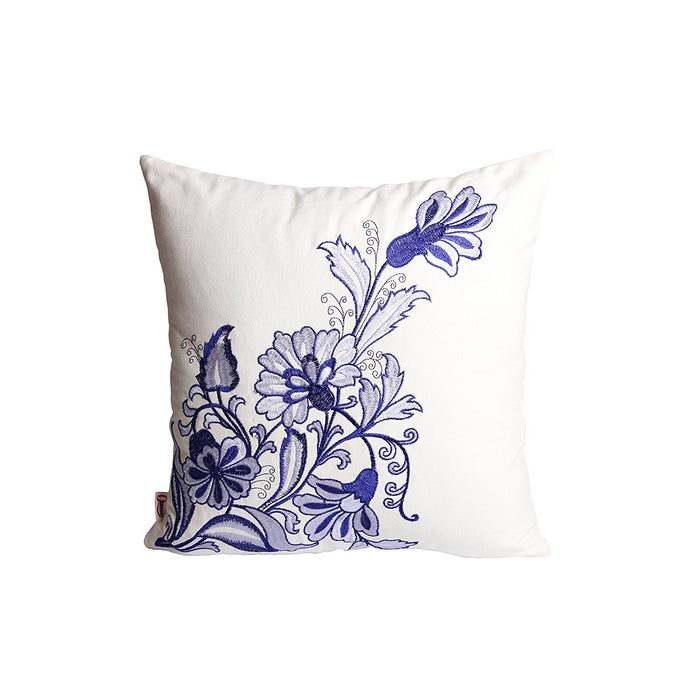 Queenie® - 2 Pcs Traditional Chinese Blue & White Porcelain Series 100% Cotton Embroidered Decorative Pillowcase Cushion Cover Throw Pillow Case 18 X 18 Inch 45 X 45 Cm (2, Vase & flowers)