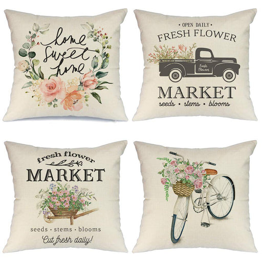Set of 4 Spring Farmhouse Throw Pillows 18x18