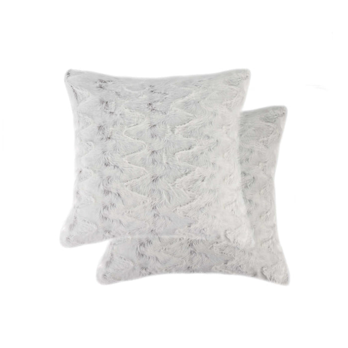 "2-Pack Faux Fur Pillow 18"" X 18"" - Crystal Off-White"