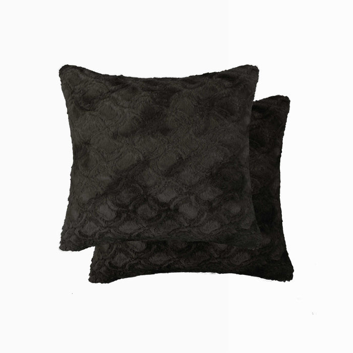 "2-Pack Faux Fur Pillow 18"" X 18"" - Faux Mink Signature Black"