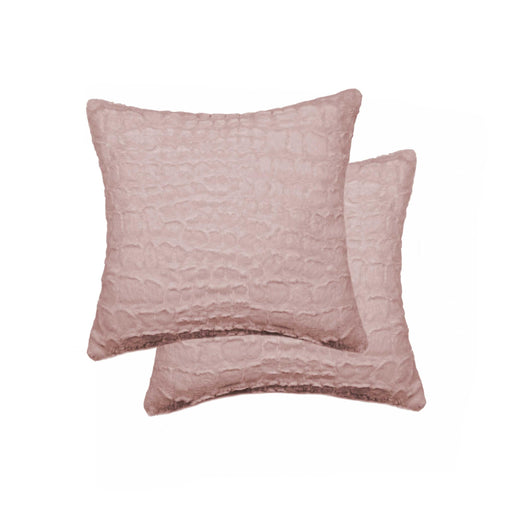 "2-Pack Faux Fur Pillow 18"" X 18"" - Faux Mink Signature Rose"